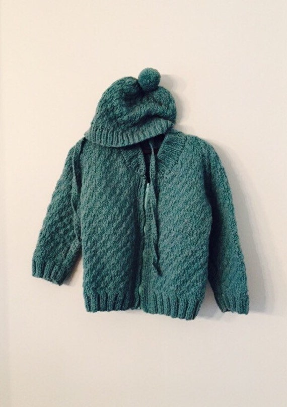 Vintage Handmade Blue Wool Baby Sweater and Matching Hat
