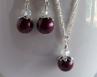 Bridesmaid Blackberry Pearl Necklace & Earrings - Blackberry Pearl Jewelry Set - Wedding Jewellery - Bridesmaid Jewelry -  Gifts for Women