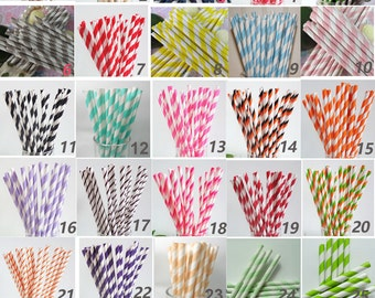 Striped Paper Straws - Set of 150 - Party Drinking Straws Mason Jar Straws Striped Paper Straws Rustic Barn Wedding Straws