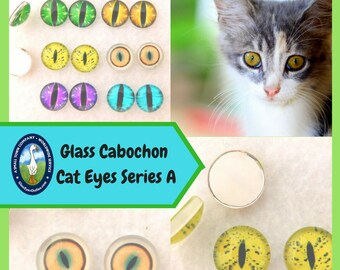 1 PAIR Glass Cat Eyes Cabochon Eyes Size 8mm or 10mm or 12mm or 14mm  Sculpture, Carving, Needle Felt, Polymer Clay, Crafts, Fantasy  CAB-A