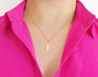 Gold Leaf Necklace, Cougar Town Necklace, Courtney Cox, Simple Gold Necklace, Statement Necklace, Jennifer Aniston