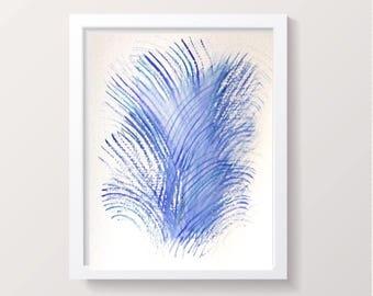 Abstract  watercolor painting, Original feather abstract art Print, contemporary art, Blue/purple modern art, nursery art or wall art