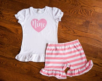 9th birthday outfit, pink heart ninth birthday shirt with ruffle shorts outfit, nine year old birthday outfit
