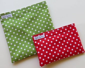 Reusable Sandwich and Snack Bag Set Eco Friendly Green and Red Polka Dot