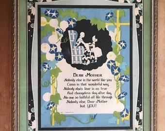 """Framed vintage """"Mother"""" poem"""