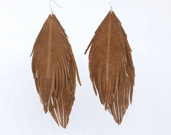 DOUBLE genuine ITALIAN LEATHER natural tan feather earrings soft leather feather earrings leather earrings lightweight dangle earrings