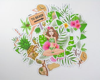 Journal Cards and Ephemera - For TN, Journals, Planners and Scrapbooks,  Tropical Summer