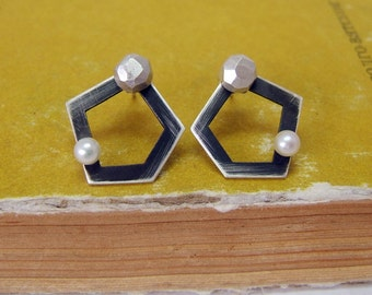 Sterling Silver Ear Jackets, Stud Earrings