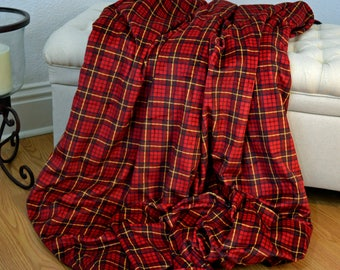 Adult Minky Blanket, Holiday Throw, Red Plaid Minky Blanket, Christmas Throw, Large Minky Throw, Ready to Ship!