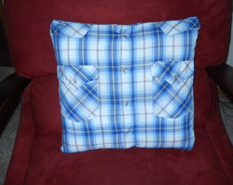 Memory pillow made with your keepsake shirts.   Custom.