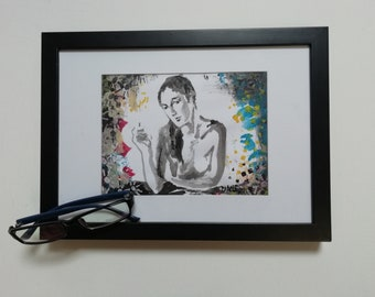 SHE DOES IT :  original female nude acrylic painting on paper .
