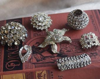 Vintage Rhinestone Lot, Jewelry Making Lot, Repurpose Repair Jewelry lot, Jewelry gift for her