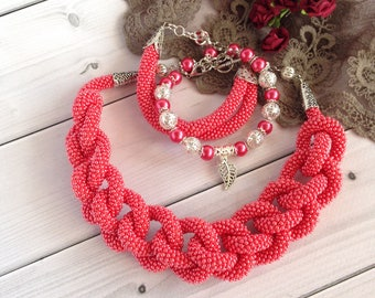 Red necklace Long Seed Beaded  Lariat Transformer Necklace Statement Beadwork  necklace Gift for woman Gift for her