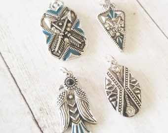 Southwestern Charms Antiqued Silver Enamel Charms Turquoise Charms Western Charms Arrowhead Charm Bird Charm Set Charms with Rings PREORDER