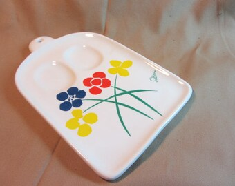 Double Ceramic Spoon Rest Designed by Saltera Distribution Himark Kitchen Gourmet Taiwan, Like New Spoon Rest, Decorative Stove Ceramic Tray