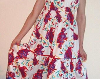 SALE! Long Sundress  Twin Print Cotton Designer NEW Sample - Item #2014, Resort Apparel