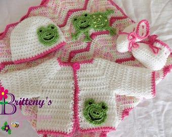 Baby Girl Blanket  Baby Girl Frog Blanket  Baby Pink Blanket  Baby Girl Pink Frog Blanket Set  Baby Girl Frog Sweater Set  Shower Gift