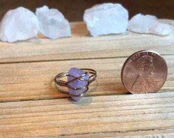 Reserved*Size 7 All Encompassing Spiritual Healer Purple Amethyst and Gunmetal Brass