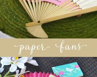 White Paper Fans White Fans Wedding Fans Wedding Hand Fans Colored Fans Beach Wedding Favors Ceremony Wedding Decor  (EB2121) - set of 24|
