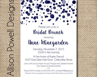 Polka Dot, Confetti, Bubbles Bridal Shower, Bridal Luncheon, Invitations - Print your own