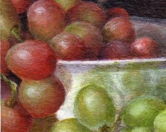 Original Small Still Life Painting, Miniature Framed Painting of Grapes, Tiny Art Home Decor Mini Painting