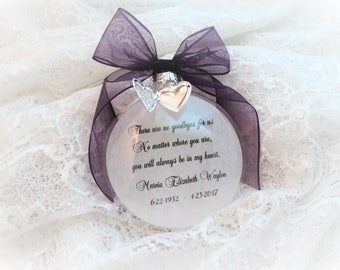 In Memory Christmas Ornament, There are no Goodbyes for us, Free Personalization and Free Locket Charm