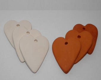 3 Bisque Ceramic Hearts 6 cm Handmade Ceramic Ornaments. Heart Tiles from Clay. Wedding Favors