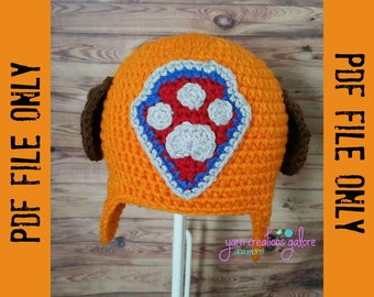 Crochet Orange Pup Hat Pattern-- PDF FILE ONLY