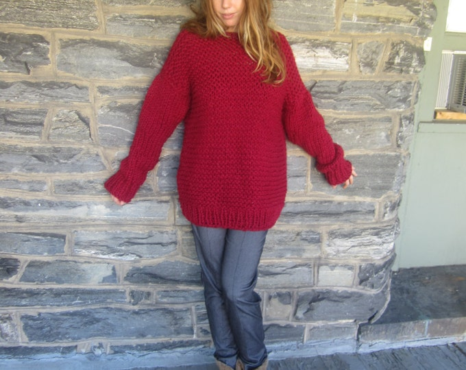 SLOUCHY OVERSIZE SWEATER/ Cranberry/ red Knit sweater/ womens sweater/knit sweater/ Winter Jumper/bohemian sweater/ Men's knit sweater