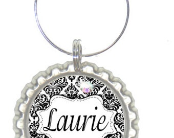 Set of 6 - PERSONALIZED WINE CHARMS - Damask Beauty -Swavorski Crystals -  Bachelorette Party Favors, Wedding Favor, and Parties