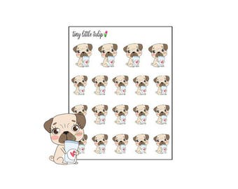 Planner Stickers Pug Coffee
