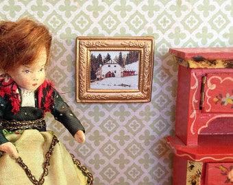 Vintage Miniature Framed Winter Landscape Picture for Dollhouse