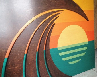 Coastal Inspired Sculpture | Wood wall Art | Waves & Sunset | HOKUA