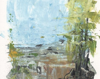 Forget me not, Acrylic, Painting, Abstract, Urban, Modern, Landscape, Art, Blue, Green