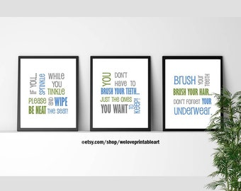 Kids Bathroom Quotes, If You Sprinkle When You Tinkle, Brush Your Teeth Sign, Bathroom Rules Humor, Green and Blue Bathroom Wall Art Decor