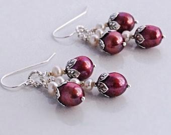 Red Pearl Earrings Silver Sterling Cluster Earrings Pearl Drop Earrings Gift for Her Under 50 Red Bridesmaids Earrings Red Dangle Earrings