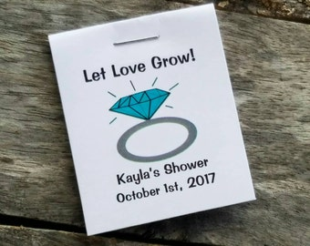 Mini Engagement Ring Flower Seeds Bridal Shower Favors - Blue Diamond Engagement Ring Personalized for your Event - Seed Packets