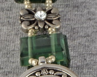 Handmade Watch in Bold Emerald and Silver