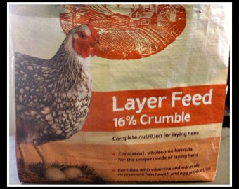 Black & White Speckled Chicken Tote ~ Upcycled from feed bags