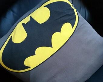 Batman charcoal logo bat symbol upcycled recycled tshirt pillow cushion eco green