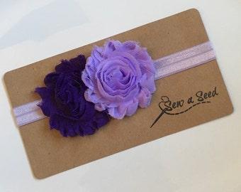 Baby Headband, Infant Headband, Flower Headband, Purple Headband, Purple Flowers, Purple Hair Bow