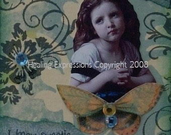 SOFTEN THE PAIN altered art collage recovery grief therapy ptsd Aceo Atc print