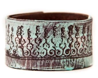 Spring Cuffs Bracelets Leather Jewelry Turquoise Bohemian Fashi Upcycled Jewelry Cuff Bracelets Wristbands May  Sale