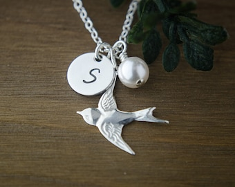 Silver Bird Necklace | Sterling Silver Initial Necklace | Silver Necklace | Charm Necklace | Sparrow Necklace | Personalized Jewelry | Bird
