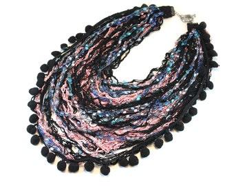Multi Strand Necklace. Knit Multi Strand Necklace. Statement Multi Strand Necklace. Scarf Necklace. Pom Pom Necklace.