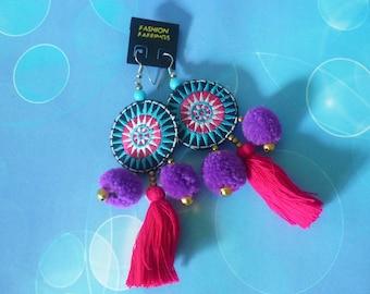 Purple earrings tribal earrings pom pom - thread tassel -tassel beaded earrings -Hill tribe earrings -ear wire earrings -boho earrings