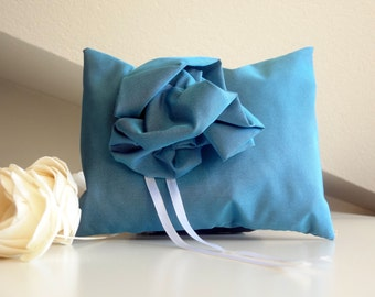 Blue wedding pillow for Ring Bearer - wedding accessories