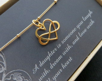 Christmas gifts for daughter, Entwined infinity necklace, infinity heart charm, gold or sterling silver, gift for daughter, birthday gift