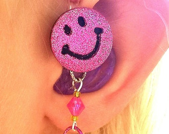Tube Trinkets:  Glittery Happy Emoji Faces!  Please select quantity 2 for a pair!  Hearing Aid Charms sold separately to complete the look!