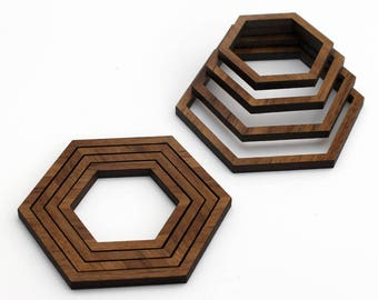8 Concentric Hexagon Wood Beads : Walnut